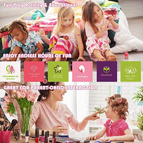 Enjoybot Kids Washable Makeup Toy - 25PCS Mermaid Real Cosmetic for Little Girls , Play Pretend Makeup Kit for Toddlers , Real Make up Set for Age 4 , Best Girl Gifts for 3/4/5/6/7: Toys & Games