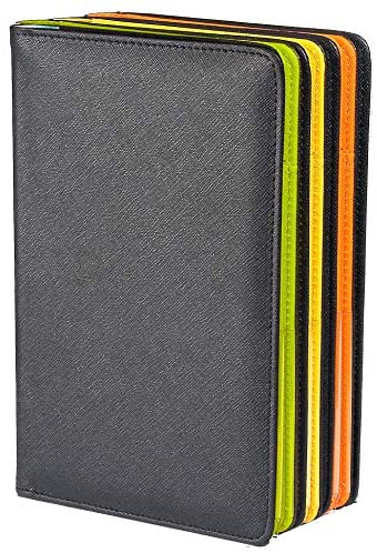 Mymazn Server Book for Waitress Book Server Wallet for Waiter Book Serving Book Guest Check Holder Restaurant Waitstaff Organizer for Apron (Outside Black/Inside Pink): Kitchen & Dining