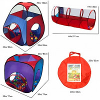 Playz 4pc Pop Up Children Play Tent w/ 2 Crawl Tunnel & 2 Tents - Kids Tents for Boys, Girls, Babies & Toddlers for Indoor & Outdoor - Large Children Playhouse Ball Pit w/ Storage Case: Toys & Games