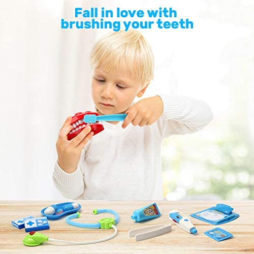 CUTE STONE Toy Medical Kit, 30PCS Kids Pretend Play Dentist Doctor Kit with Electronic Stethoscope Toy and Carrying Case, Role Play Educational Toy Doctor Playset for Toddler Boys Girls: Toys & Games