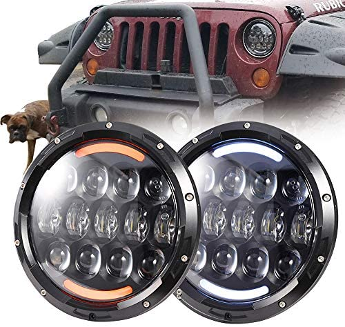 "COWONE 7""inch 105W Cree LED Headlights with White DRL Amber Turn Signal Compatible with1997-2018 Jeep Wrangler JK LJ CJ TJ Hummer H1 H2 Headlamps: Automotive"