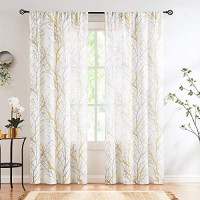 """Print White Semi-Sheer Curtains for Living Room 63"""" Fresh Green and Grey Tree Window Curtains Branch Printed Linen Textured Curtain Panels for Bedroom Draperies 50""""w 2-Pack. Rod Pocket: Kitchen & Dining"""