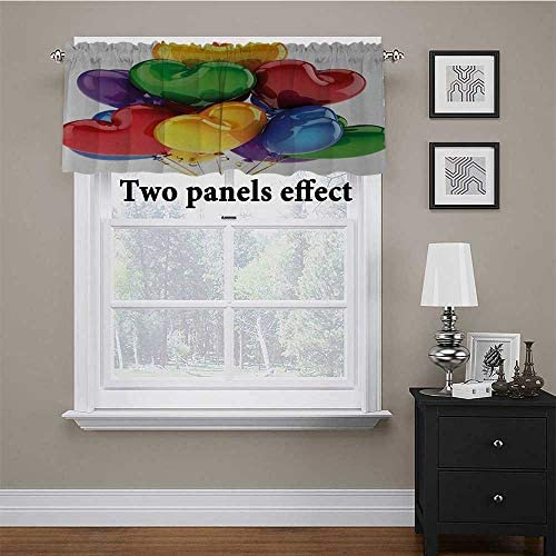 Adorise Curtain Valance Flying and Sitting Birds on The Tree Branch Flowers Weed Nature Peace Theme Print Window Valance for Basement, Windows Black Yellow White 56 x 16 Inch: Home & Kitchen