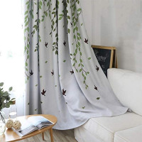 1 Panel Half Blackout Curtain Room Darkening for Bedroom Green Tree Leaves and Birds Silver Metal Grommet Curtains Thermal Insulated Drapes for Living Room , Greylish Background Fabric W39 x L84 inch: Furniture & Decor