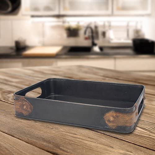 Stonebriar Rectangle Slate Metal Serving Tray with Rust Trim & Cutout Handles, Industrial Butler Tray, For Serving Drinks & Snacks, Centerpiece for Coffee Table, Document Organizer for Desk or Office: Home & Kitchen
