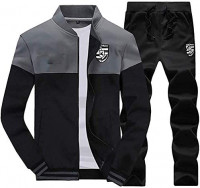 Men 2 Piece Tracksuit Set - Full Zip Athletic Sweatsuit Outfit Jogger Running Sport Set: Clothing