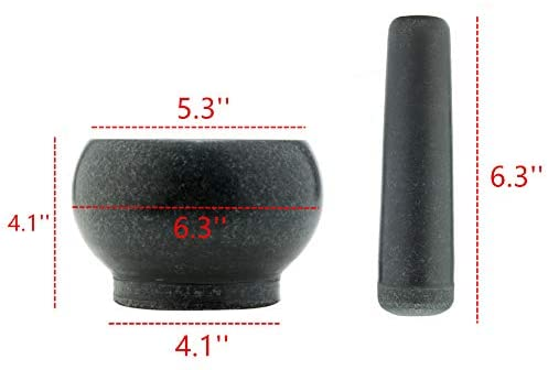Mesheshe 6.3 Inches Sturdy Mortar and Pestle Set, Polished Bluestone Grinder Bowl, Large Stone Grinder for Herb/Spice/Garlic/Ginger/Root, Carved Flower&Bird Pattern Mortar Bowl and Pestle: Kitchen & Dining