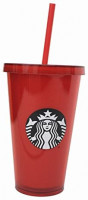 Starbucks Venti Red 2017 Cold Cup Tumbler 16 Oz: Tumblers & Water Glasses