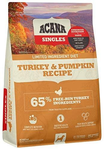Acana Singles Limited Ingredient Dry Dog Food, Grain Free, High Protein, Turkey & Pumpkin, 4.5lb: Pet Supplies