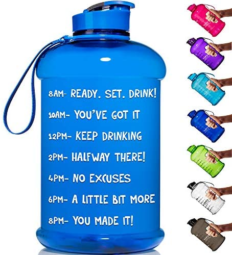 HydroMATE Half Gallon 64 oz Motivational Water Bottle with Time Marker Large BPA Free Jug with Handle Reusable Leak Proof Bottle Time Marked to Drink More Water Daily Hydro MATE (Blue) : Sports & Outdoors