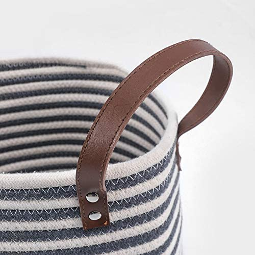 Park Life Designs Sienna Pet Toy Basket, Collapsible 100% Organic Cotton Rope Storage Bin with PU Leather Handles, Machine Washable, 12 by 12-inches