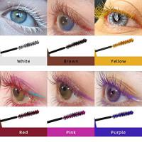 6Pcs/Set Color Mascara Waterproof Long-lasting Curling Lengthening Fast Dry Makeup Eye Lashes Purple Pink Red Yellow White Brown Ink Mascara : Beauty