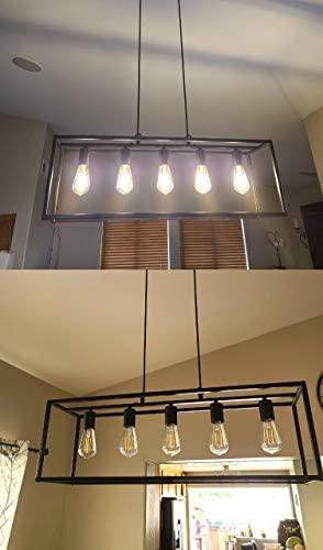 Black Farmhouse Kitchen Island Lighting Modern Chandelier Industrial Ceiling Light Fixtures for Dining Room Living Room Foyer Bar Restaurant (5-Light)
