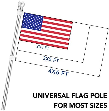 Yeesun Flag Pole, 6FT American Flag Pole & Bracket-Suitable for 3 x 5 Flags Holder for House Porch & Outdoor, Tangle Free and Wall Mount Flag Pole Kit (Without Flag, Silver) : Garden & Outdoor