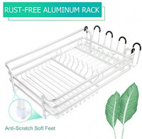 TBMax Dish Drying Rack with Drainer Tray, Rust-Free Aluminum Sink Dish Drainer Drying Rack with Utensil Holder for Kitchen Countertop -Silver: Kitchen & Dining