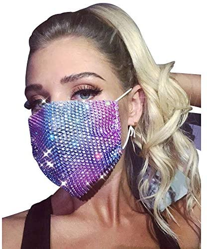 Baisong 2pcs Rhinestone Masquerade Mask for Women Fashion Bling Decorative Masks with Adjustable Ear Loops: Home & Kitchen