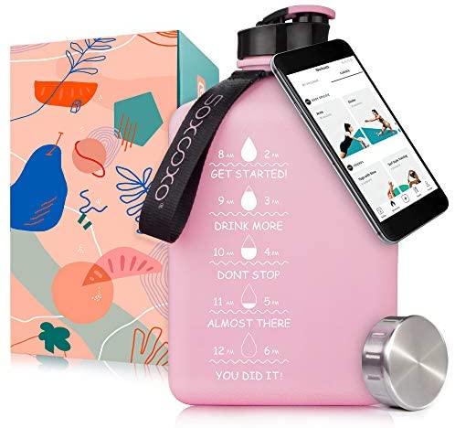SOCOO Square Water Bottle BPA Free 2.7Litre Half Gallon Water Bottle W/ Phone Holder Leak Proof Large Water Bottle W Motivational words &Time Marker Big Sports Water Bottle Jug with Handle (91oz Mint): Home Improvement