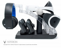 PSVR Charging Stand with Optional Illumination by Asterion Products – Rapid AC Charger Display holds the PlayStation VR Headset, (2) DualShock 4, (2) Move Controllers & Headphones: Video Games