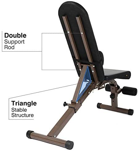 ER KANG Adjustable Foldable Weight Bench, 800 lbs Weight Capacity Workout Bench with Extra Backrest, Sit Up Bench, Decline/Incline/Flat for Home Gym, Strength Training, Weightlifting : Sports & Outdoors