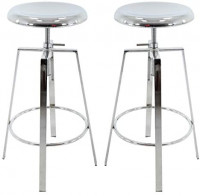 Brage Living 4-Legged Chrome Backless Metal Round Seat Adjustable Height Bar Stools with Footrest (Set of 2) (Chrome): Furniture & Decor