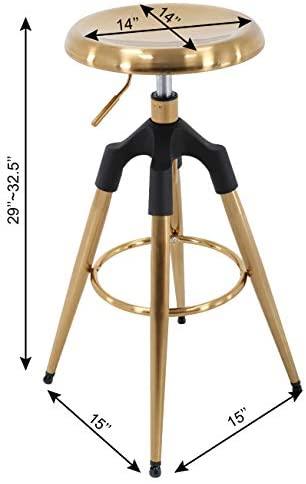 Brage Livng Four-Legged Adjustable Height Barstool (Gold): Furniture & Decor