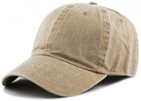 The Hat Depot 100% Cotton Pigment Dyed Low Profile Six Panel Cap Hat (Tan) at Men's Clothing store