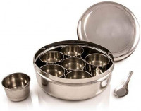 Stainless Steel Masala Dabba Spice Box, Spice Containers Masala Dabba Indian Spice Box, Kitchen Spice Box, Spice Box Masala Dabba - 7 Compartments, masala box, Storage Spice Containers, Storage Masala B: Kitchen & Dining