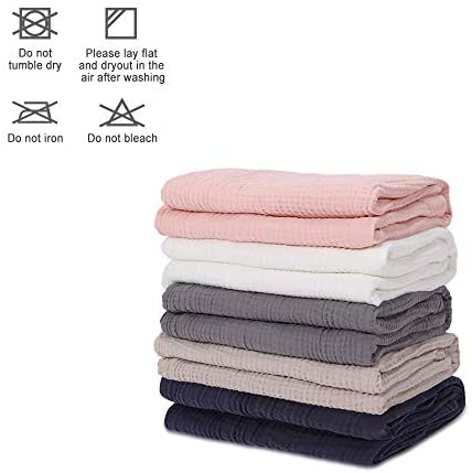 """EMME 100% Cotton Muslin Blankets for Adults 4-Layer Breathable Muslin Throw Blanket Pre-Washed Lightweight Bed Blankets Soft Cotton Blanket All Season (Light Tan, 55""""x75""""): Kitchen & Dining"""