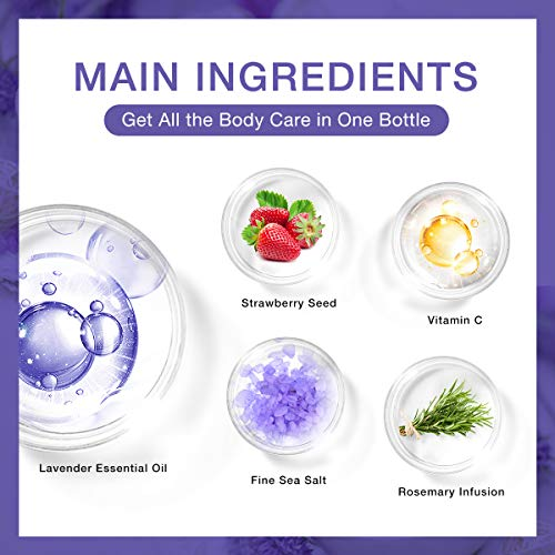Lavender Body Scrub Natural Organic Dead Sea Salt Anti Aging & Exfoliation, Improves Cellulite, Acne Scar, Spider Veins, Stretch Marks, Fine Lines & Wrinkles, Moisturizes and Nourishes Hand Feet & Skin : Beauty