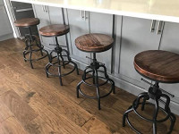 Industrial Bar Stools-Swivel Leather Metal Bar Stool-20-27 Inch Tall Counter Height-Adjustable Kitchen Stool Dining Chair Cafe Stools (Set of 2): Furniture & Decor
