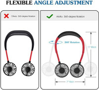 Upgraded Version Portable Neck Fan, Color Changing LED, with Aromatherapy, 360° Free Rotation, and Lower Noise Strong Airflow Headphone Design for Sport, Office, Home, Outdoor, Travel, etc.: Kitchen & Dining