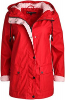 URBAN REPUBLIC Women's Lightweight Vinyl Hooded Raincoat Jacket (Red, 1X): Clothing