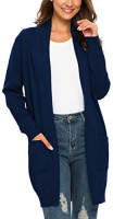 BISHUIGE Women's Long Sleeve Open Front Knit Cardigan Sweaters with Pockets at Women's Clothing store
