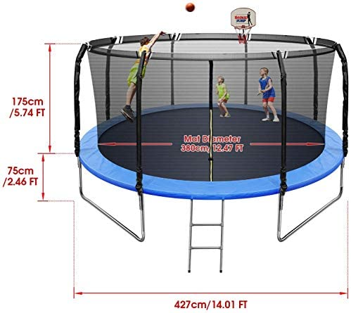 Kiamitor 14 FT Trampoline for Kids Adults Trampoline with Enclosure Basketball Hoop Waterproof Mat and Ladder Outdoor Backyard Exercise Trampoline 810 LBS Capacity : Sports & Outdoors