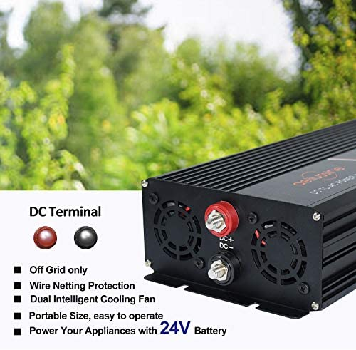 aeliussine Power Inverter 2000W Pure Sine Wave 24v dc to ac 120v Surge 4000 Watt Converter with LED Display for Car RV Boat Solar Power System.: Car Electronics