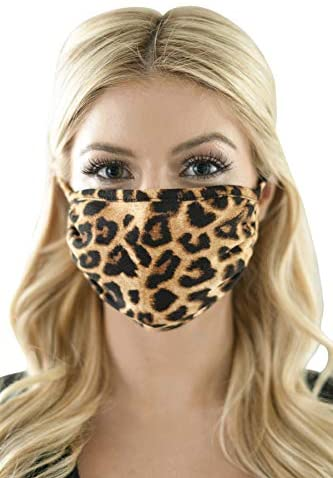 Reusable Fabric Face Mask Unisex Washable Covering - Cute Print Cloth Comfy Breathable Adjustable Outdoor Mouth Shield Protection Men Women (Round/Ear Loop - Luxe Leopard): Health & Personal Care