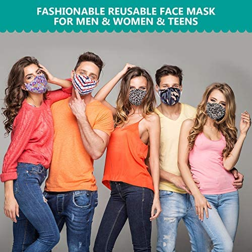 Reusable Face Mask for Women & Teens, JOYCOLOR 5 Pack Adult's Washable Cotton Fabric Cloth Masks for Dust Air Pollution | Large | Black & Floral & Leopard & Black Bandanna: Health & Personal Care