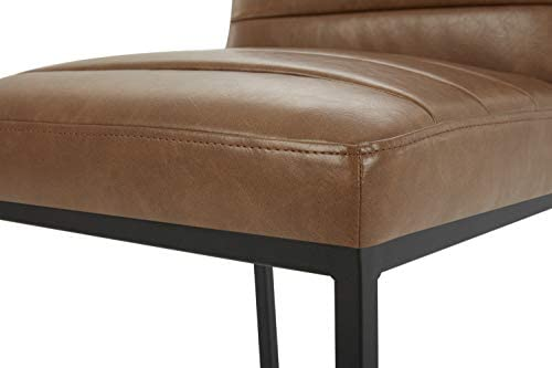 """CHITA Counter Height Barstool, Upholstered Leather Bar Stool, 26"""" H Seat Height, Brown: Furniture & Decor"""