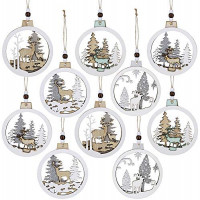 10 Pcs Christmas Hanging Wooden Ornament Hollow Fretwork Laser Cutting Wood Carving Ornaments Wood Slice Gift Tags Pendant Circle Bauble Glitter Reindeer Oranments Xmas Tree Holiday Season Festival: Furniture & Decor