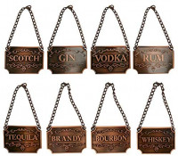 Homend Liquor Decanter Tags, Deluxe Set of Liquor Tags for Bottles or Decanters, Set of Eight With Adjustable Chain Features - Whiskey, Bourbon, Scotch, Gin, Rum, Vodka, Tequila and Brandy (Silver): Liquor Decanters