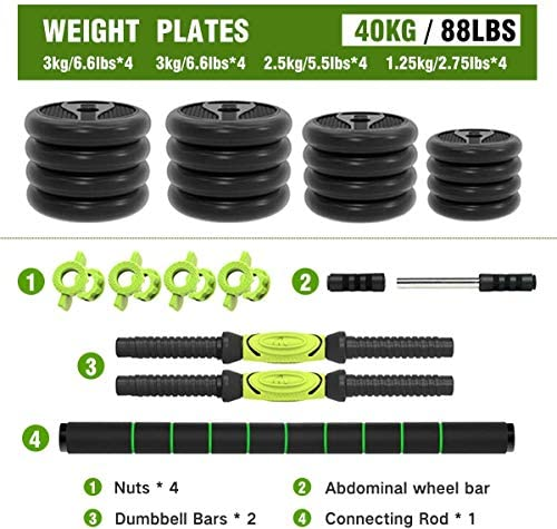 ER KANG 3 in 1 Adjustable Dumbbell Set, 88lbs Free Weights Fitness Dumbbells with Connecting Rod Used As Barbell, Ab Roller Wheel for Home Gym, Workout, Whole Body Training, 2 Pieces, (1 Pair/Set) : Sports & Outdoors