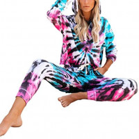 Women 2 Piece Tie Dye Printed Tracksuits Sets Long Sleeve Hoodie Tops Casual Long Pants Homewear Loungewear Outfit Sets at Women's Clothing store