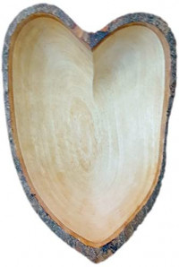 roro 10 Inch Hand-Carved Mango Wood Heart-Shaped Bowl with Bark Made From Sustainable Orchard Wood: Kitchen & Dining