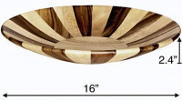 """Large Wooden Fruit Bowl by Mary's Kitchenware, 16"""" Decorative Handcrafted Natural Acacia and Rubber-wood Salad Serving Bowl: Salad Bowls"""