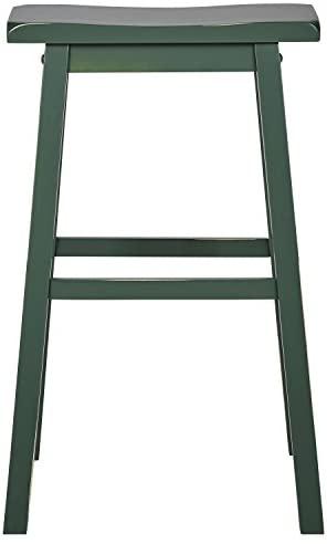 "Brand – Stone & Beam Cottage Wood Bar Stool, 24""H, Green: Furniture & Decor"