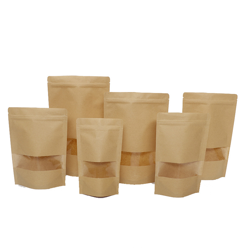 Frosted Window Universal Kraft Paper Bag Dry Nut Gift Packaging Bag year Melon Seed Snack Bag