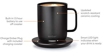 NEW Ember Temperature Control Smart Mug 2, 10 oz, Black, 1.5-hr Battery Life - App Controlled Heated Coffee Mug - Improved Design: Kitchen & Dining