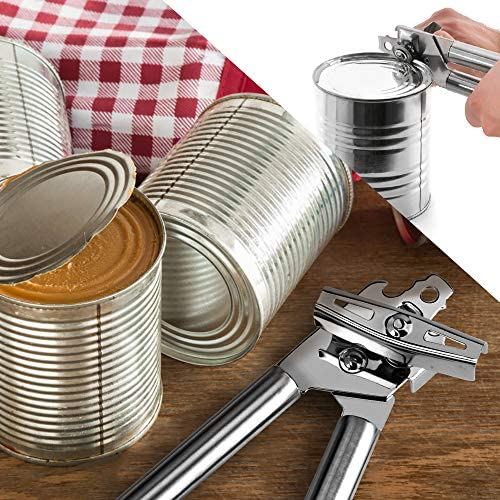 Can Opener Manual, Professional Food-Safe Stainless Steel Can Opener, Easy to Use for Kitchenaid, Can Opener/Jar/Bottle Opener with Smooth Edge(2 Spare Blades): Kitchen & Dining