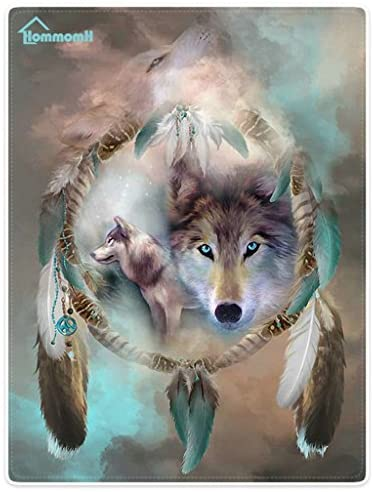 """HommomH 60"""" x 80"""" Blanket Comfort Warmth Soft Cozy Air Conditioning Easy Care Machine Wash Cool Wolf Dream Catcher: Home & Kitchen"""