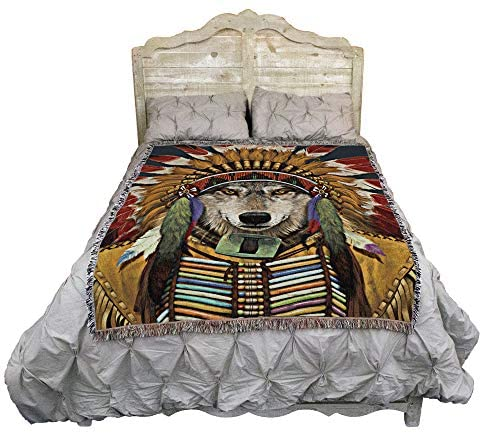 Pure Country Weavers Wolf Spirit Chief Vincent HIE Blanket Throw Woven from Cotton - Made in The USA (72x54): Home & Kitchen